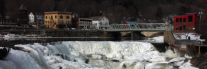 frozen falls with town scene